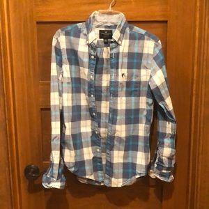 American eagle 🦅 blue white button up shirt XS